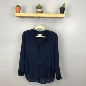 Madewell | Thin Navy Quarter Button Top